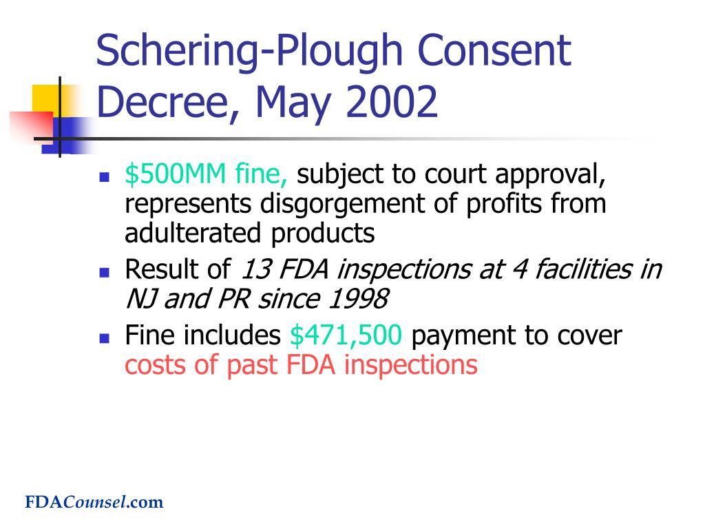 Schering-Plough Consent Decree, May 2002