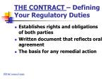 the contract defining your regulatory duties