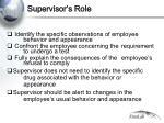 supervisor s role