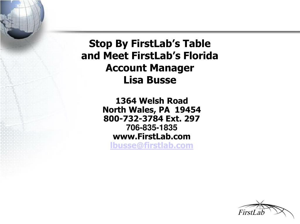 Stop By FirstLab's Table  and Meet FirstLab's Florida Account Manager