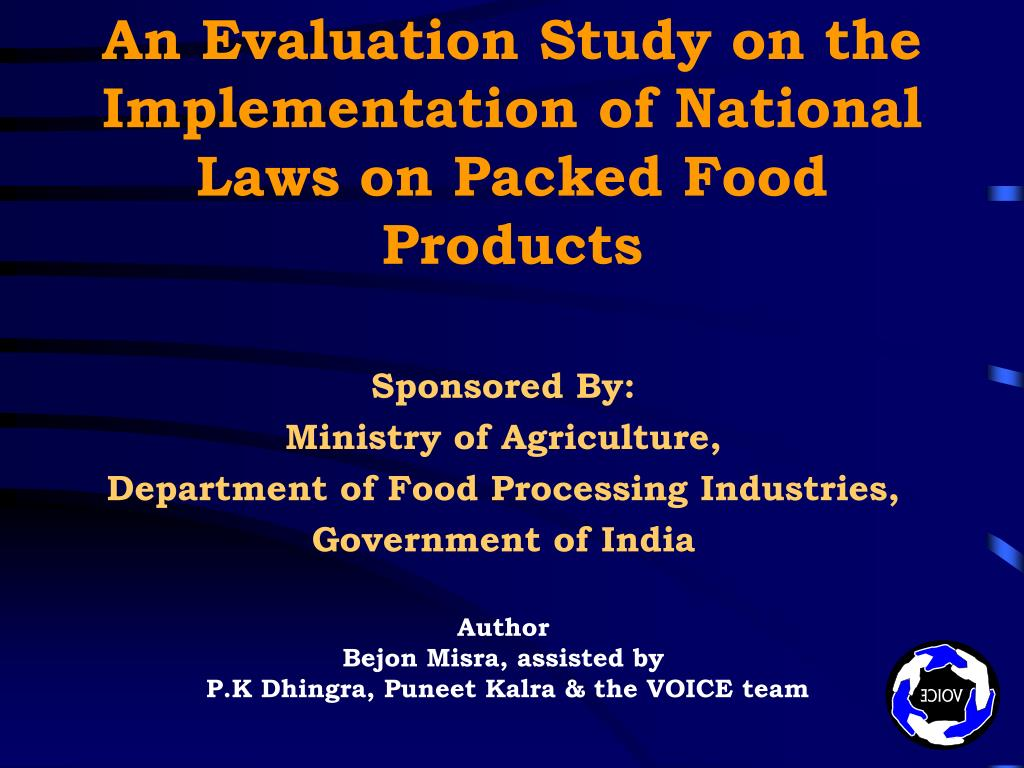 an evaluation study on the implementation of national laws on packed food products l.