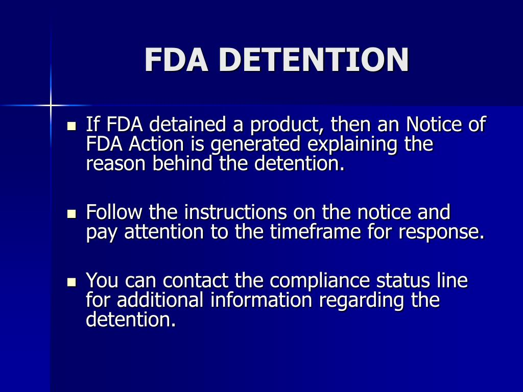 FDA DETENTION