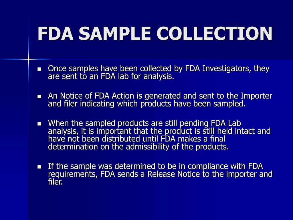 FDA SAMPLE COLLECTION