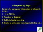 allergenicity flags