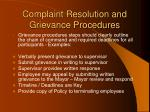 complaint resolution and grievance procedures46