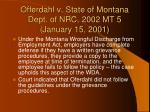 offerdahl v state of montana dept of nrc 2002 mt 5 january 15 2001