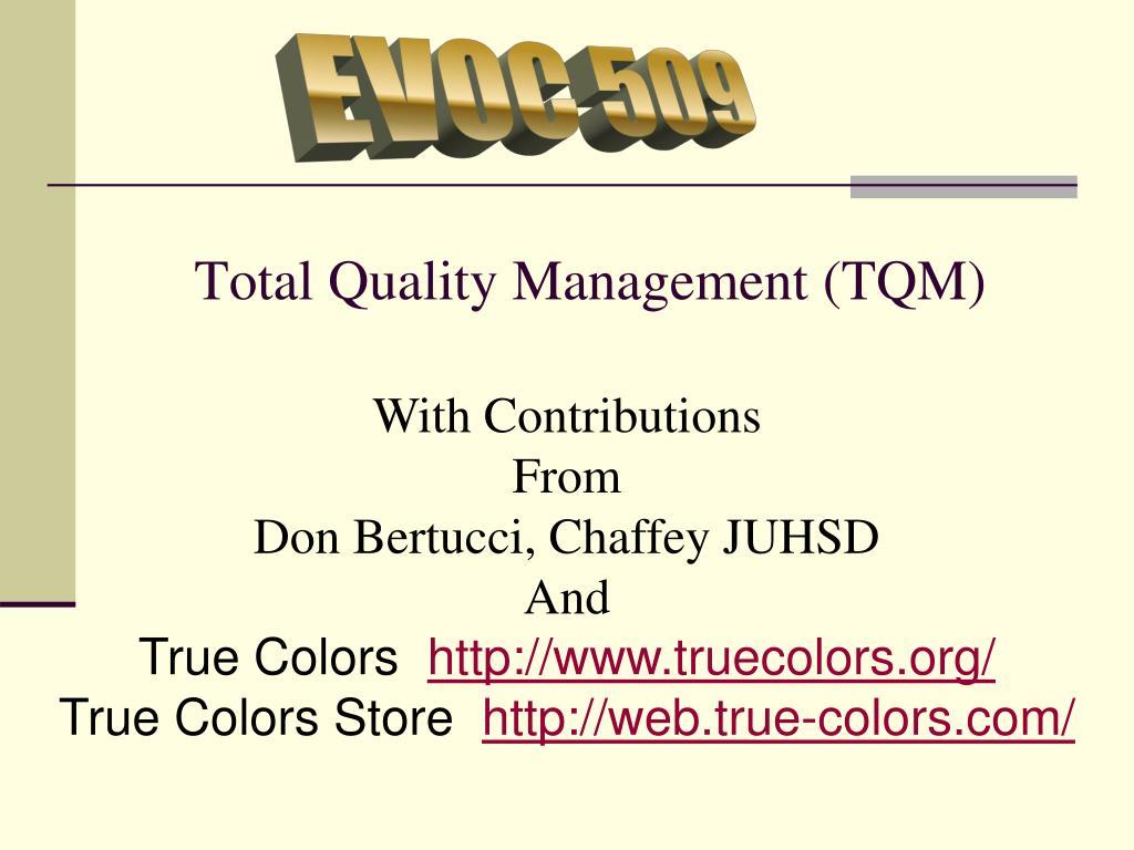 total quality management tqm l.