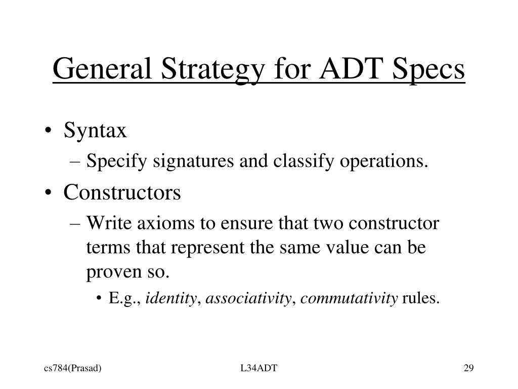General Strategy for ADT Specs
