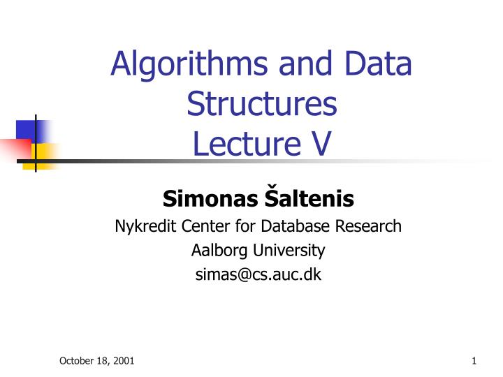 algorithms and data structures lecture v n.