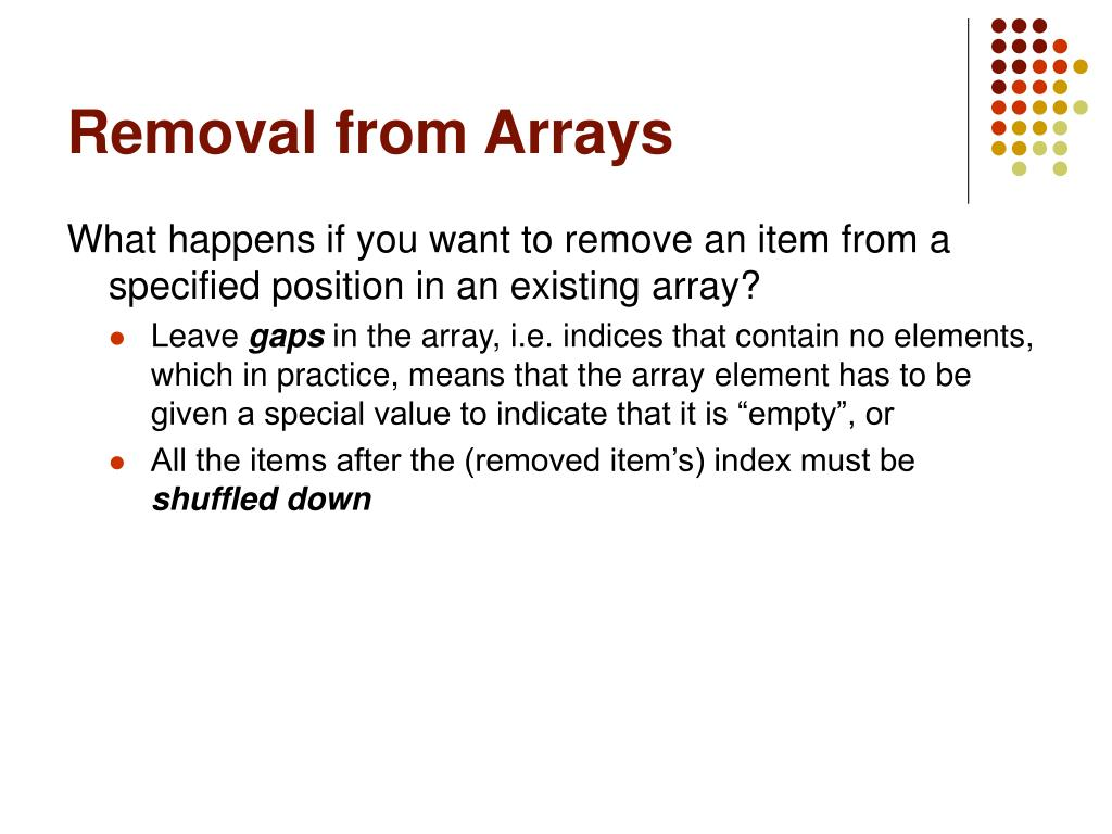 Removal from Arrays