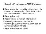 security provisions cmts internet