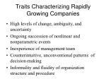 traits characterizing rapidly growing companies