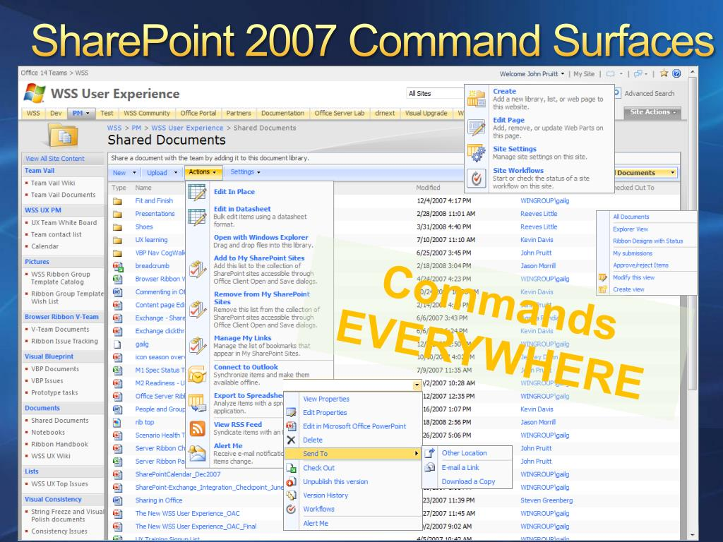 SharePoint 2007 Command Surfaces