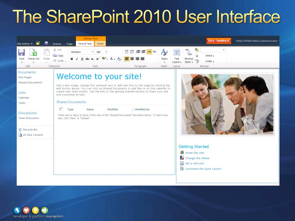 The SharePoint 2010 User Interface