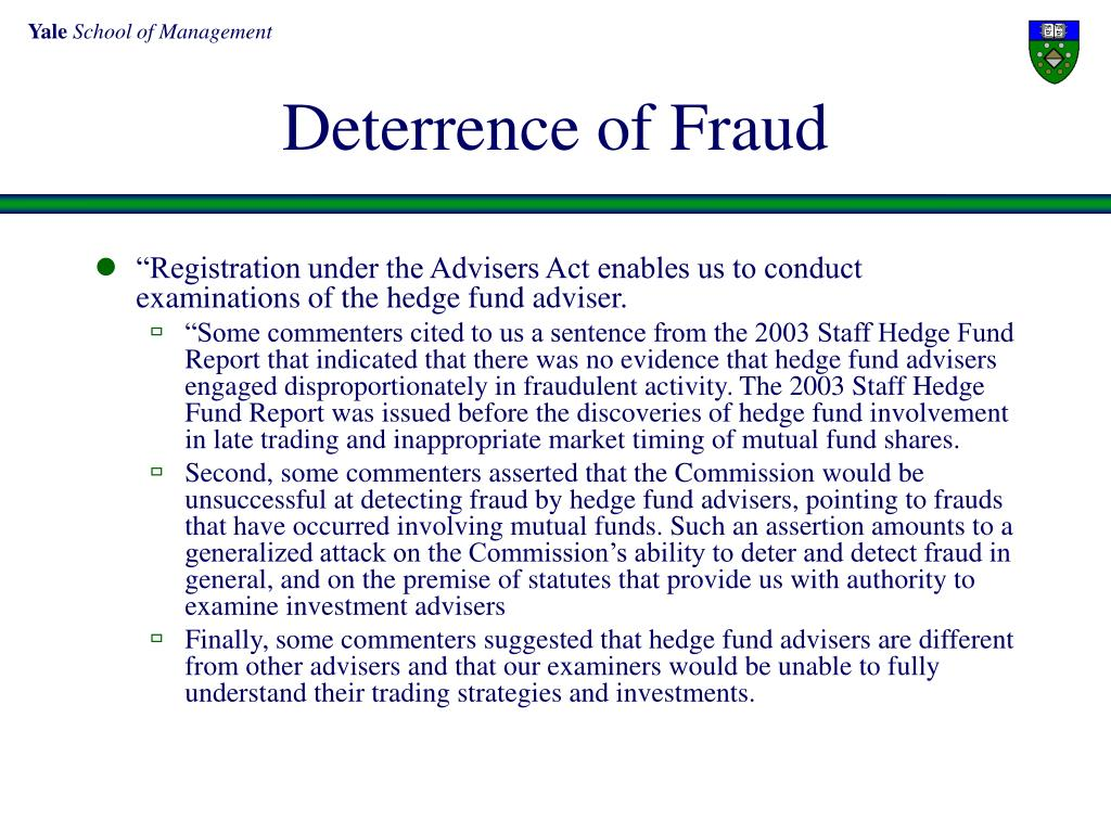 Deterrence of Fraud