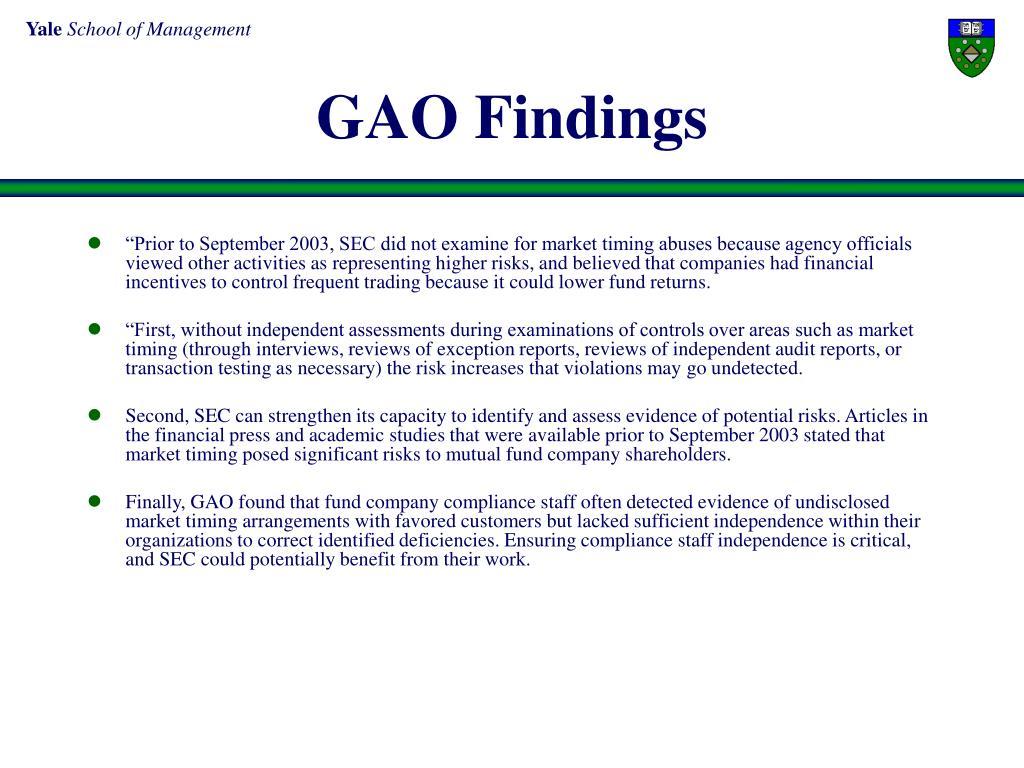 GAO Findings