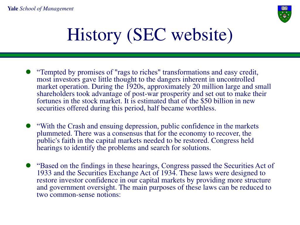 History (SEC website)