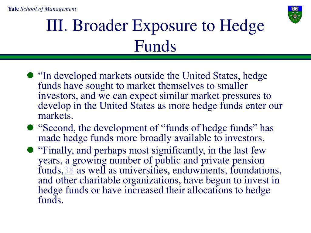 III. Broader Exposure to Hedge Funds