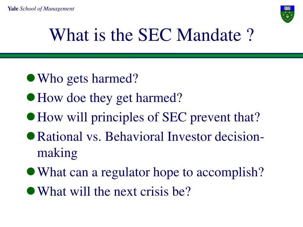 What is the SEC Mandate ?