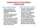 paradoxes in children s literature