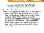 lesson plan for tier two words read the following third fourth grade paragraph