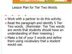 lesson plan for tier two words