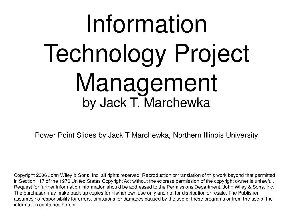 information technology project management l.