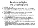 leadership styles the coaching style