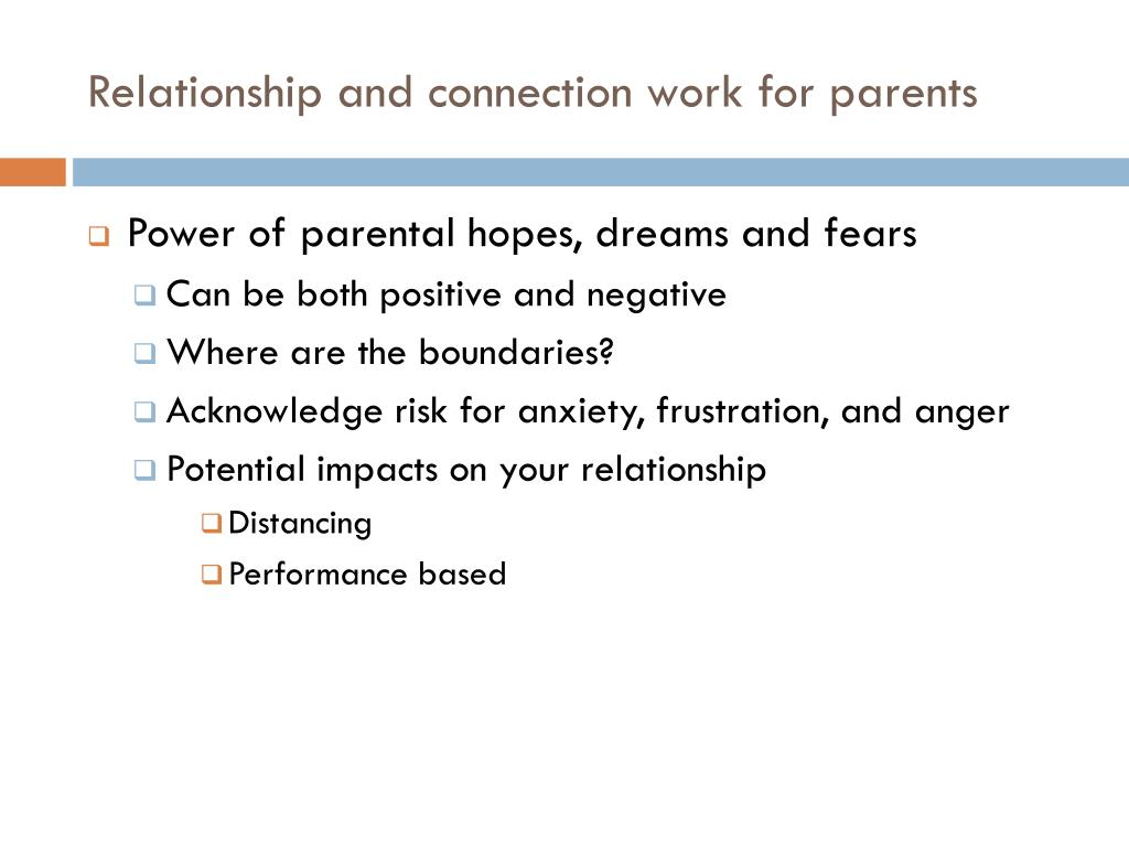 Relationship and connection work for parents