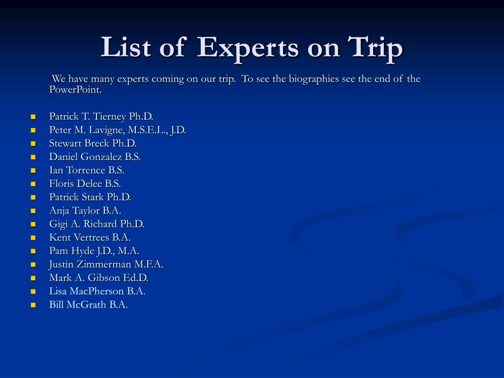 List of Experts on Trip