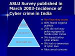 aslu survey published in march 2003 incidence of cyber crime in india