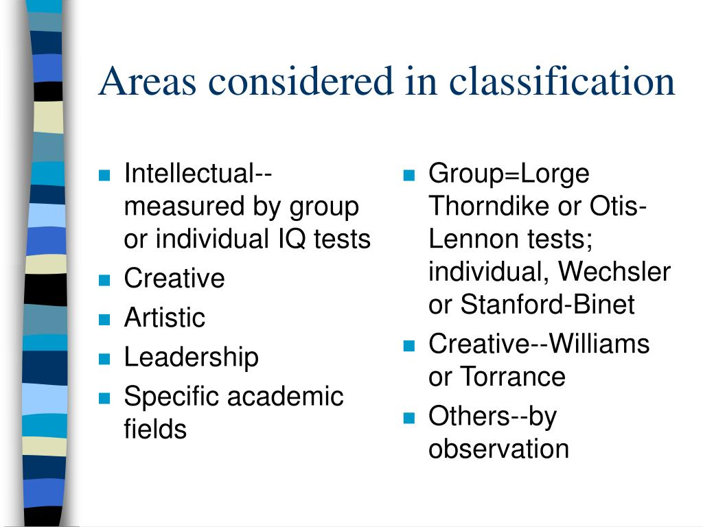 Intellectual--measured by group or individual IQ tests