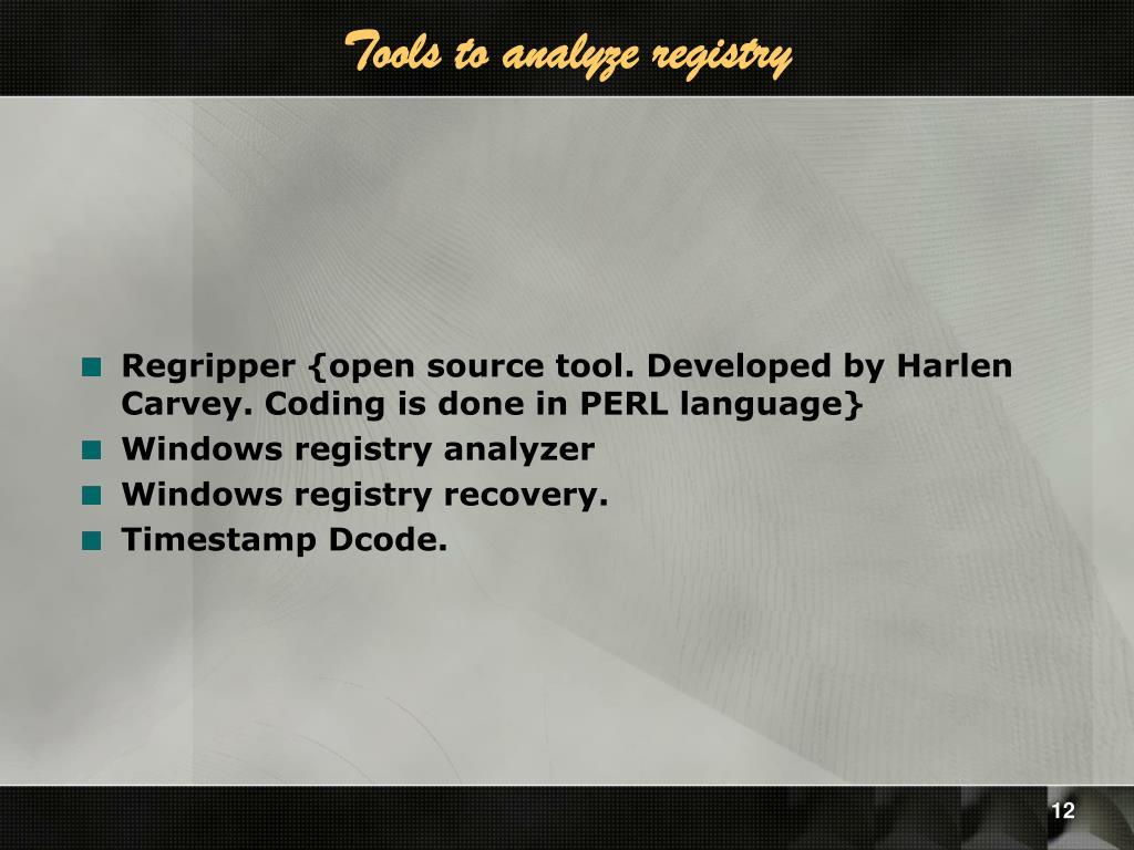 Tools to analyze registry