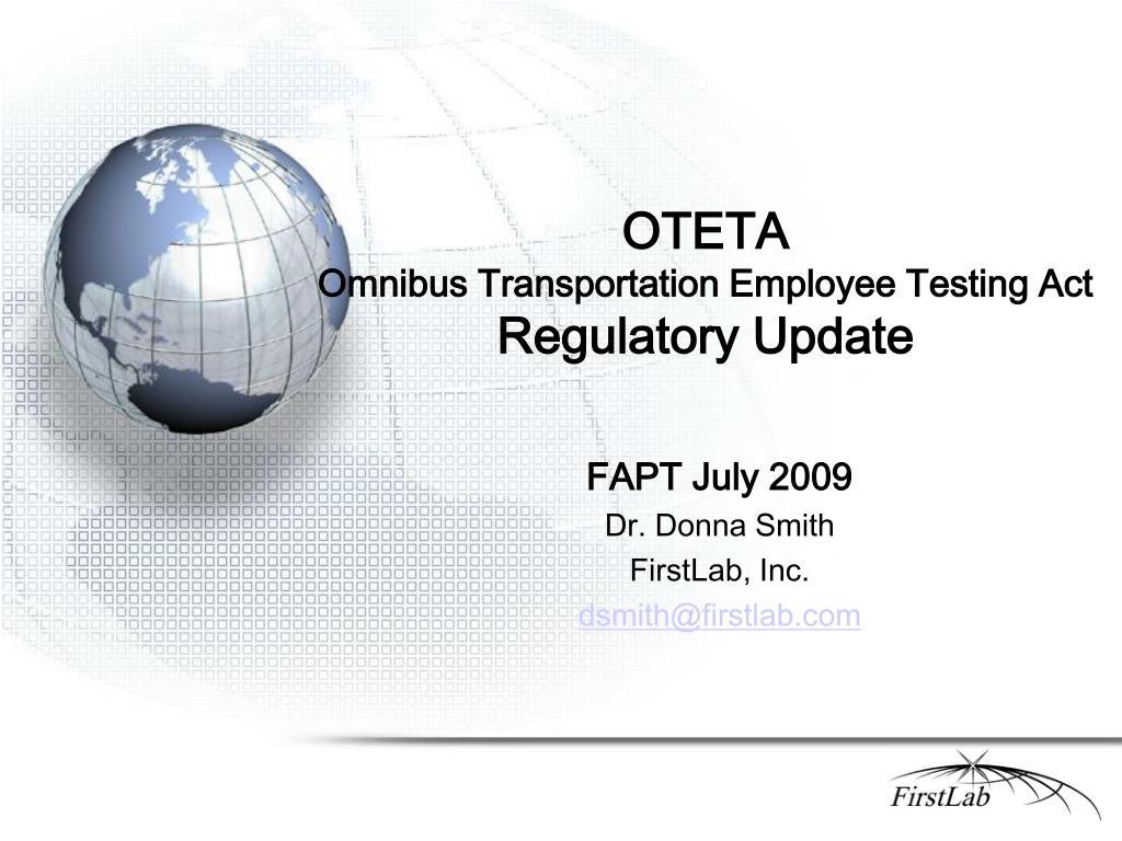 oteta omnibus transportation employee testing act regulatory update l.
