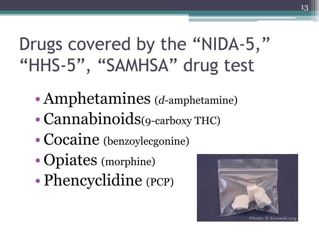 "Drugs covered by the ""NIDA-5,"" ""HHS-5"", ""SAMHSA"" drug test"
