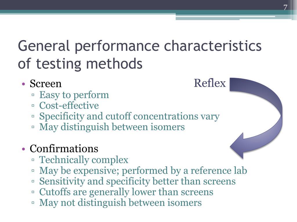 General performance characteristics of testing methods