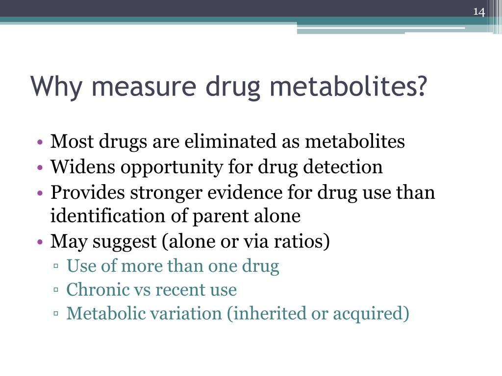 Why measure drug metabolites?