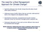 the need for a risk management approach for climate change