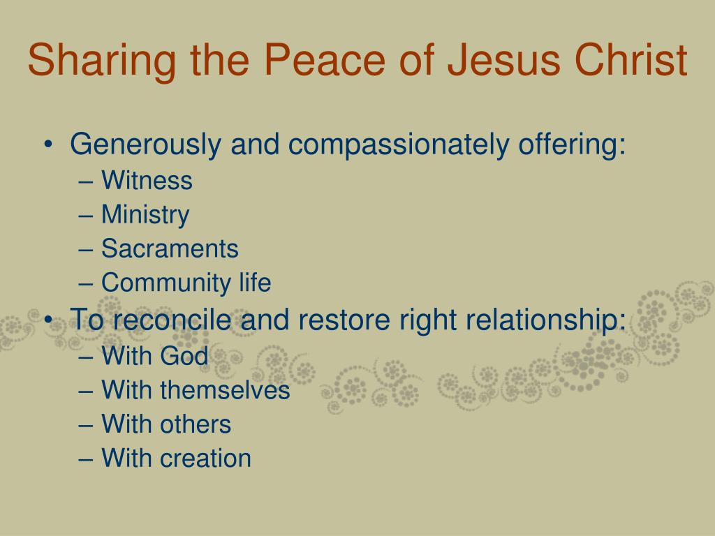 Sharing the Peace of Jesus Christ