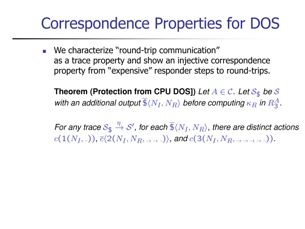Correspondence Properties for DOS