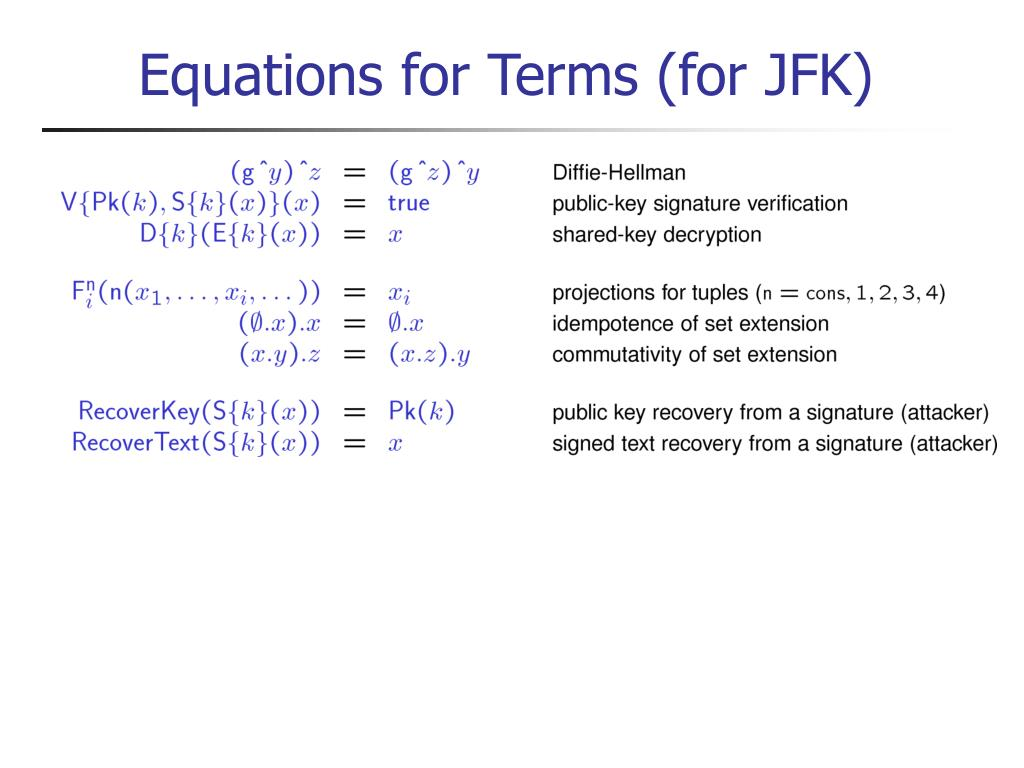Equations for Terms (for JFK)
