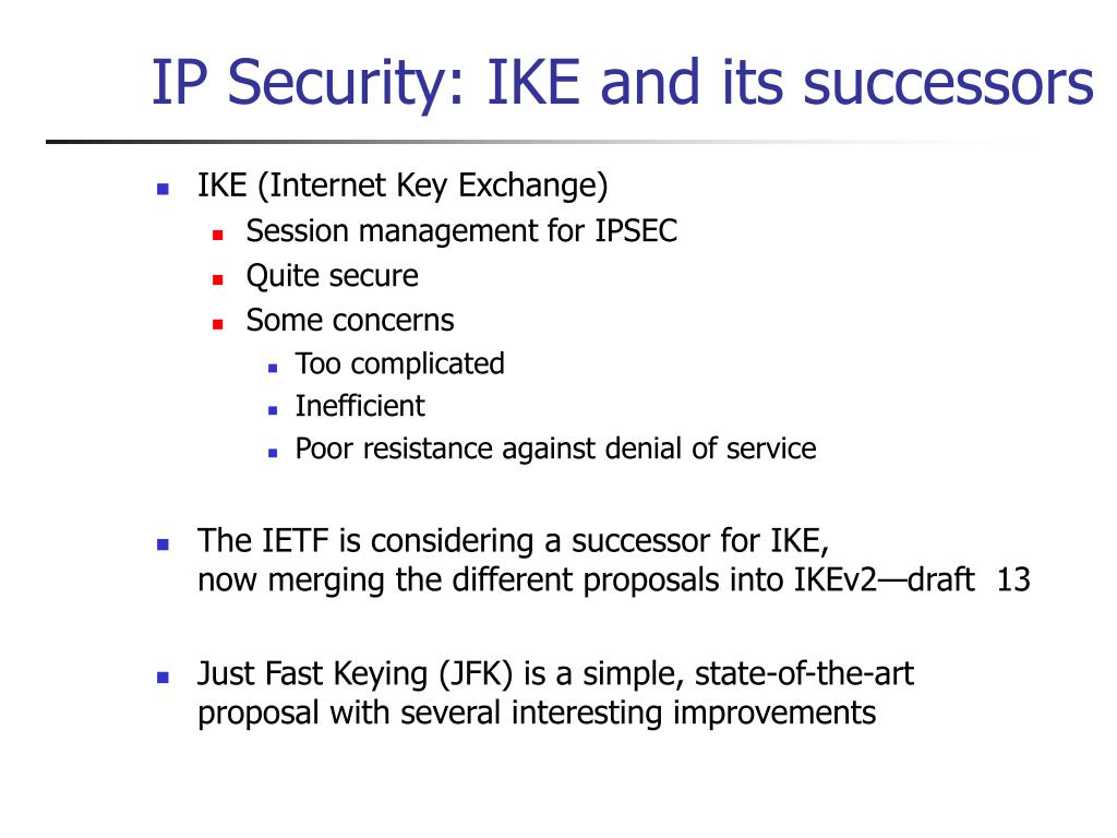 IP Security: IKE and its successors