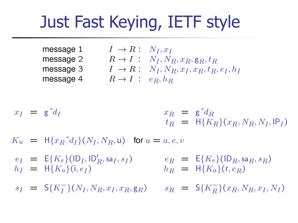 Just Fast Keying, IETF style