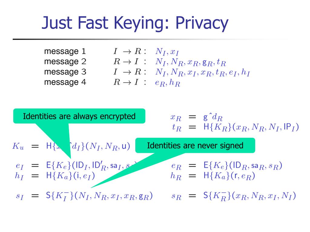 Just Fast Keying: Privacy
