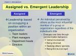 assigned vs emergent leadership