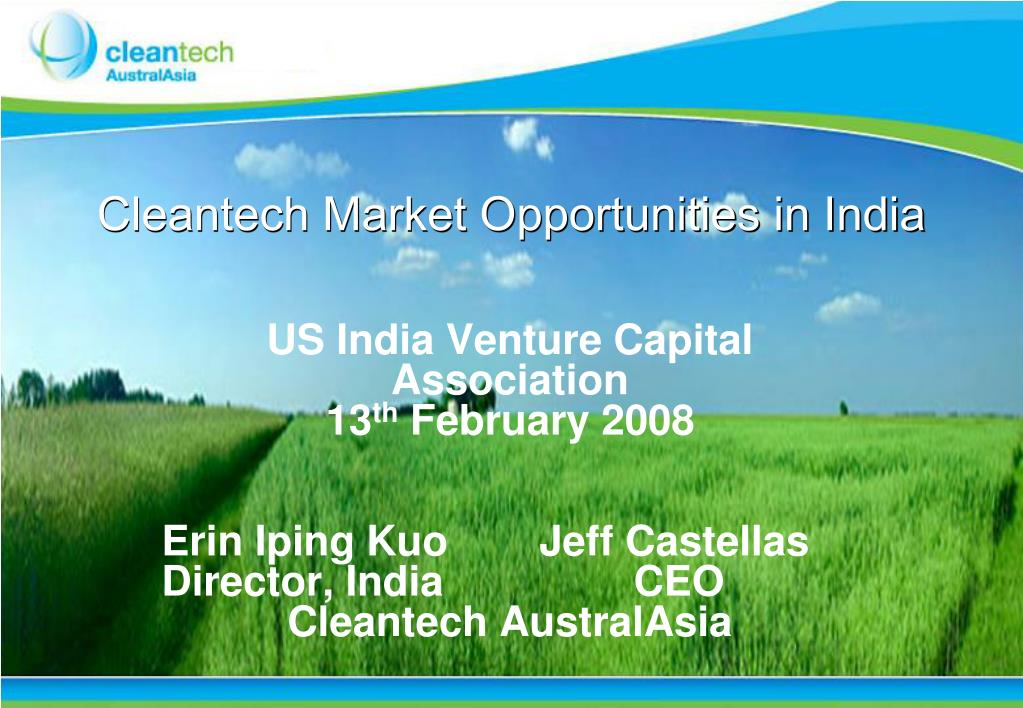 cleantech market opportunities in india l.