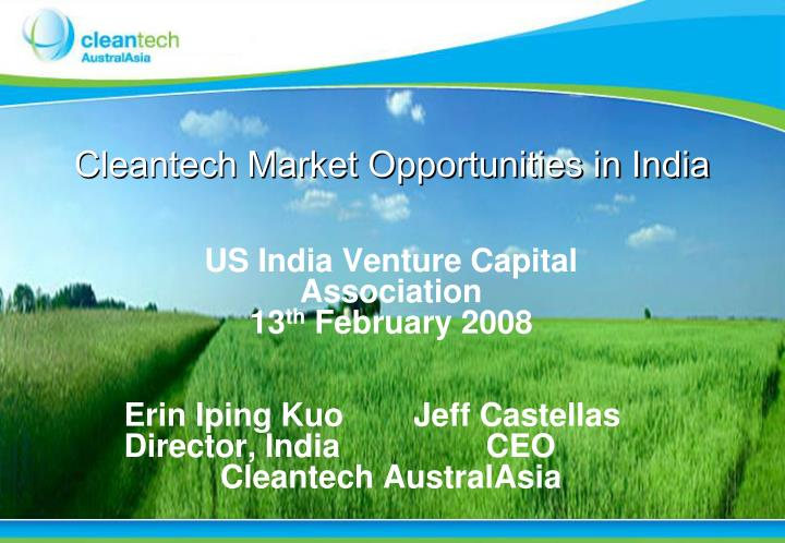 cleantech market opportunities in india n.
