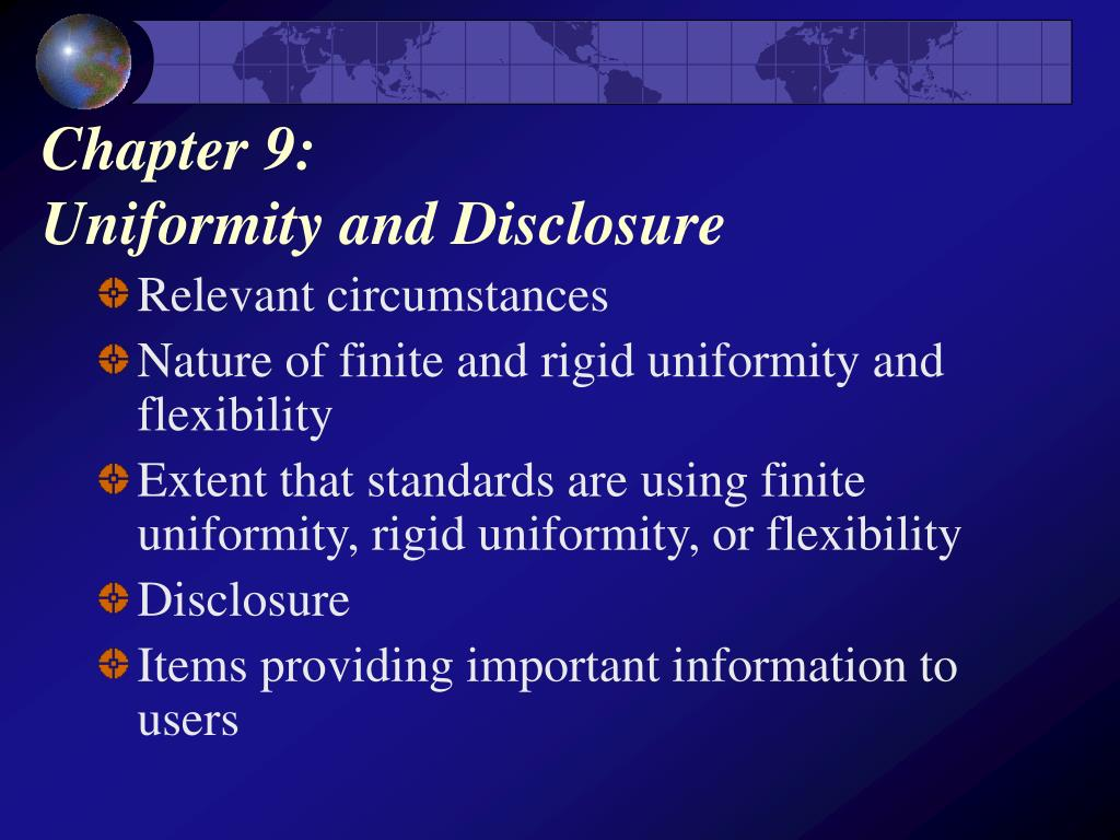 chapter 9 uniformity and disclosure l.
