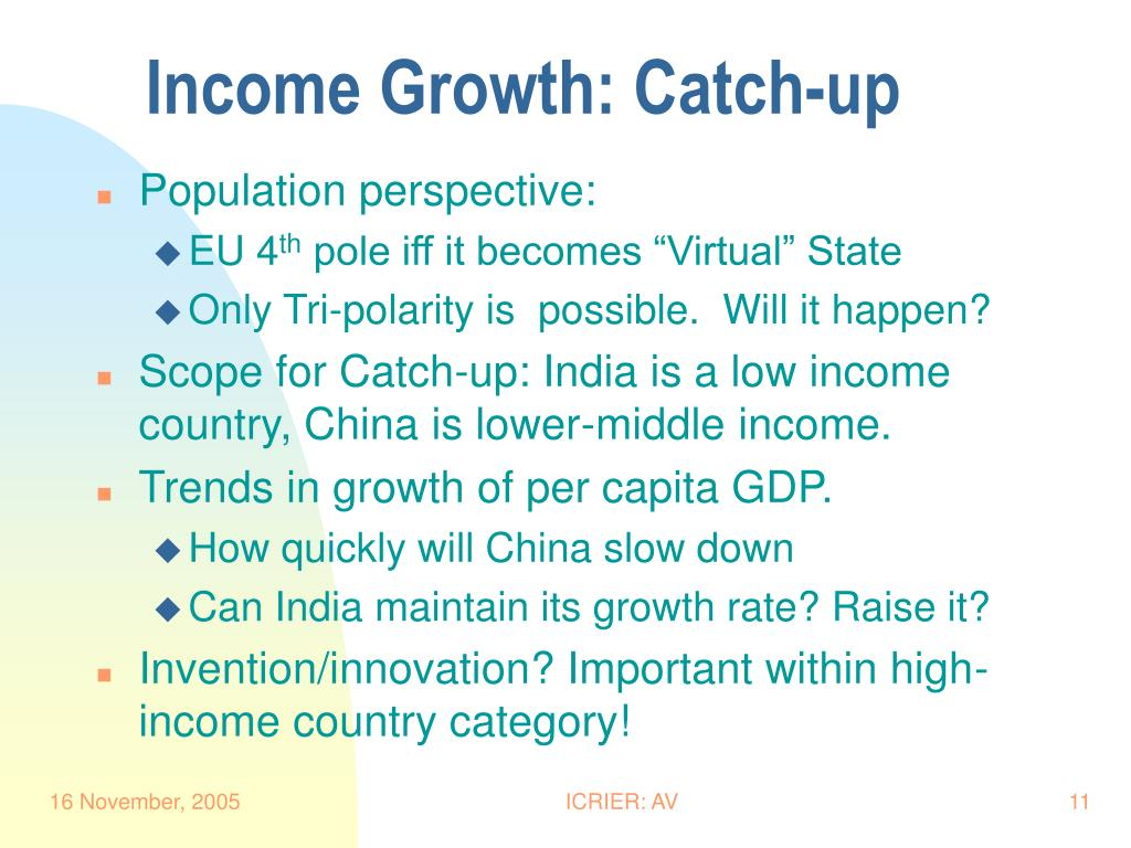Income Growth: Catch-up