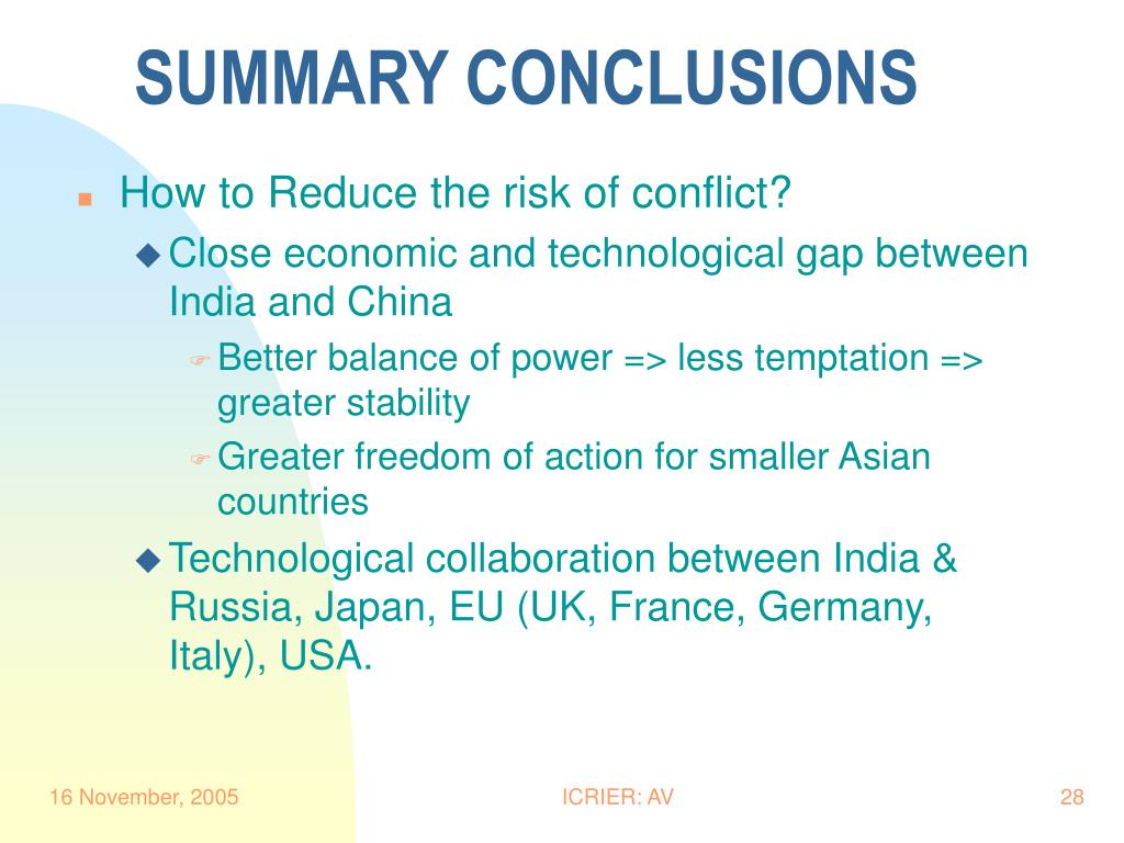 SUMMARY CONCLUSIONS